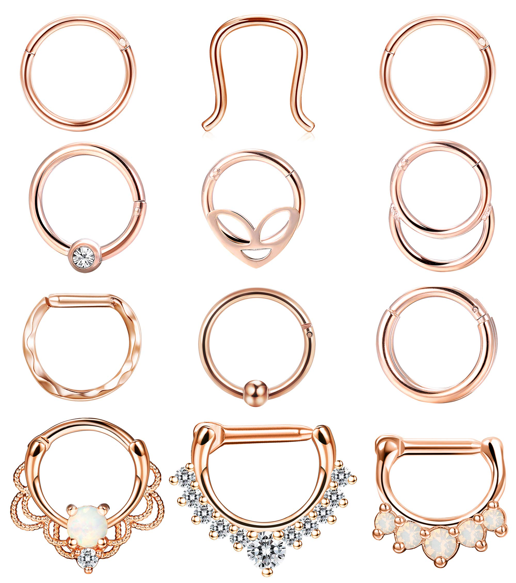 ORAZIO Septum Rings Stainless Steel 16G Hinged Segment Clicker Rings Cartilage Helix Daith Septum Piercing Jewelry by ORAZIO
