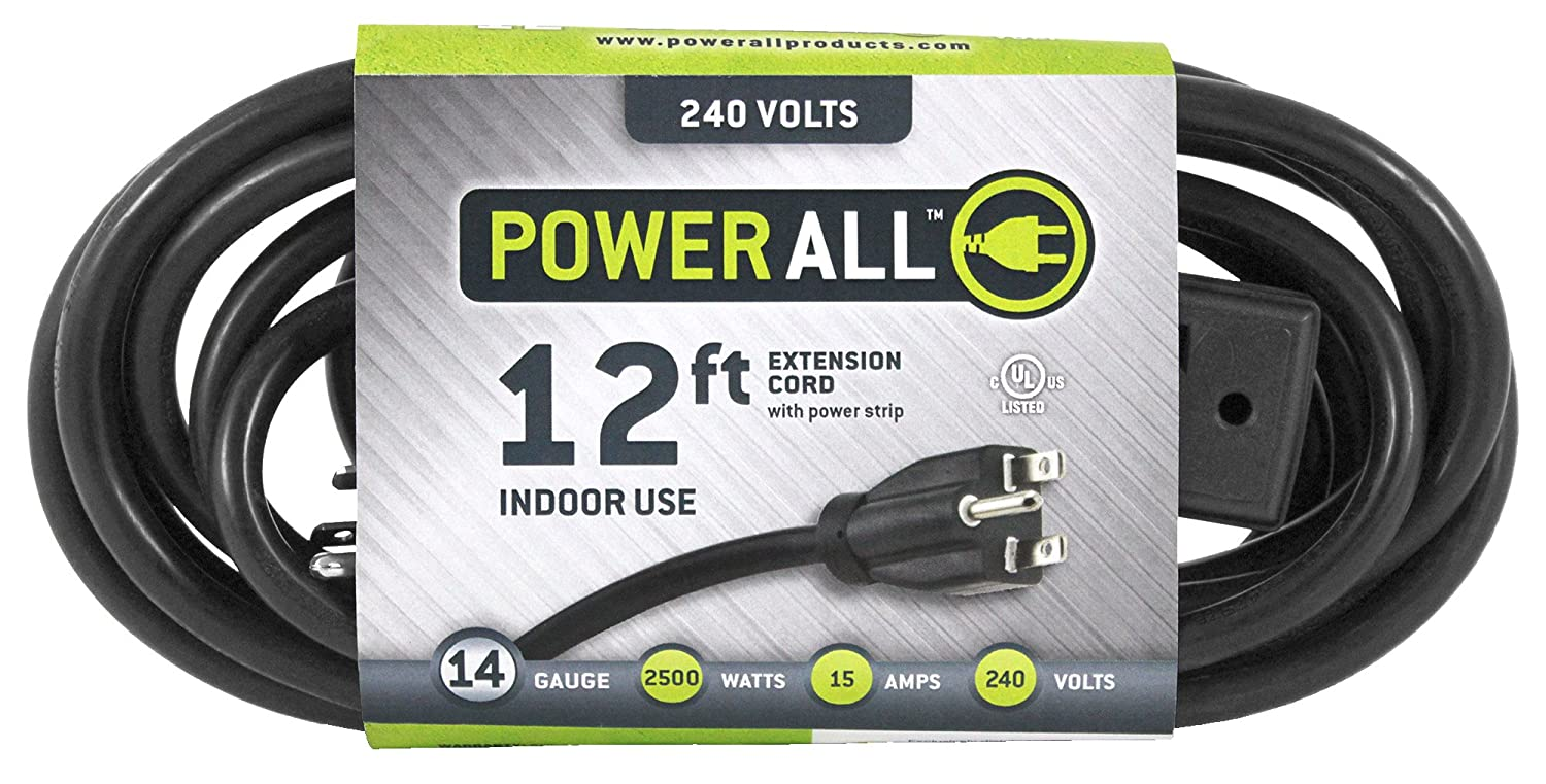 Power All - Extension Cord - 3 Outlets - 240V | 12 ft. | 14 Gauge ...