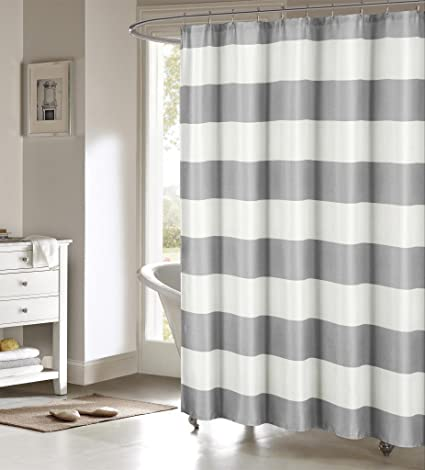 DESIGNER LINENS OUTLET Nautical Stripe Mildew Resistant Fabric Shower Curtain 70 Inches By