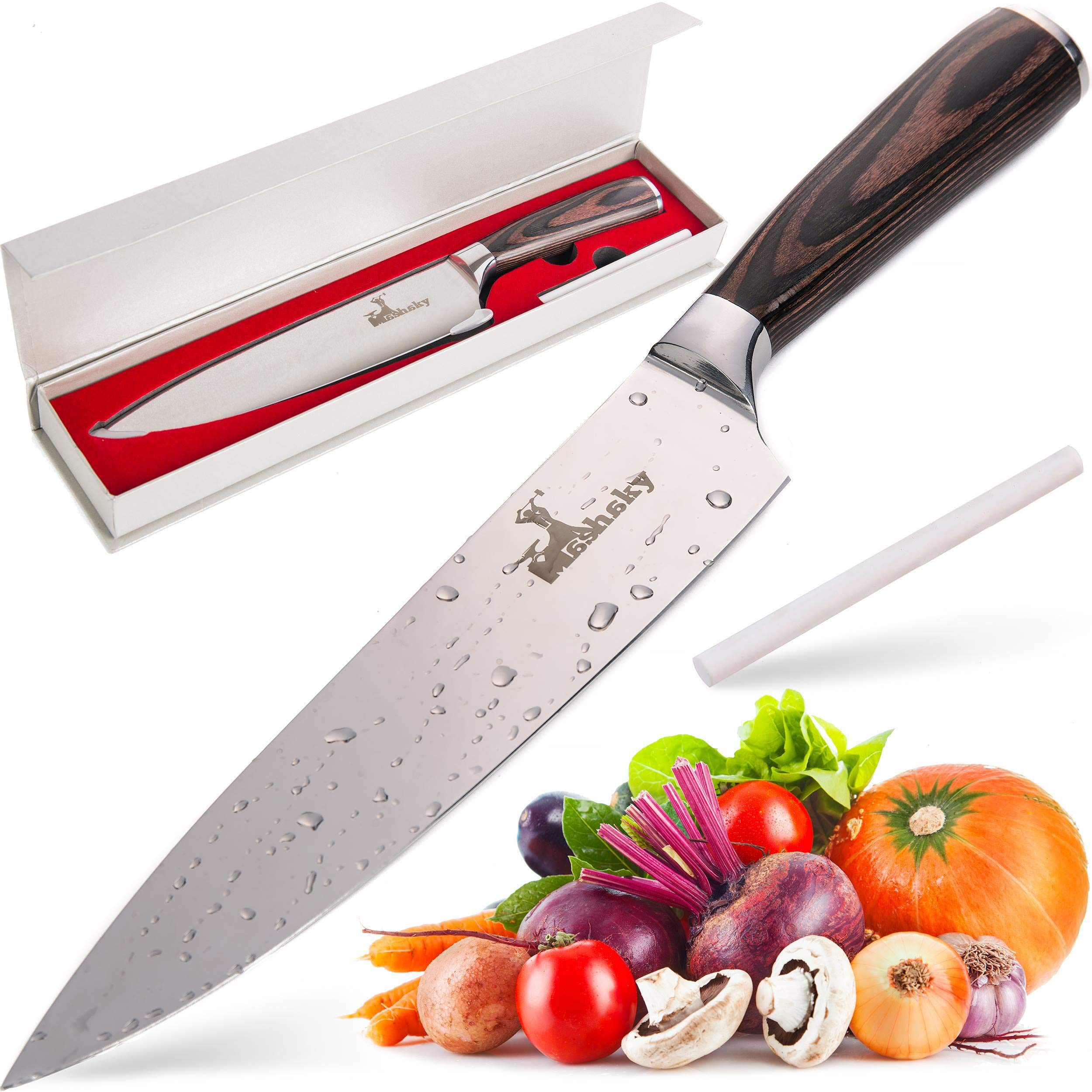 Professional 8 Inch Chef Knife | Premium High Carbon Kitchen Knife | Stainless Steel Cooking Knife With Ergonomic Pakka Wood Handle + Ceramic Honing Rod by Mashaky