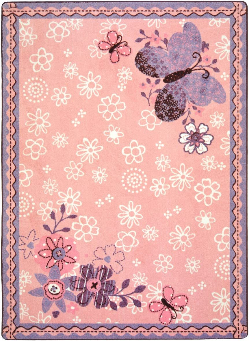 Joy Carpets Kid Essentials Infants Toddlers Flower Fields Rug, Multicolored, 5 4 x 7 8
