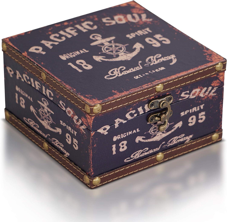 Brynnberg Caja de Madera 15x15x9cm - Cofre del Tesoro Pirata de Estilo Vintage - Hecha a Mano - Diseño Retro - joyero