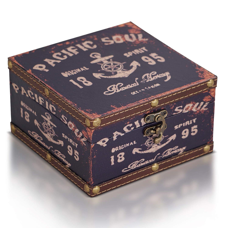 Piratenkiste Schatzkiste Deko Koffer Antik Aufbewahrungsbox Brynnberg Schatztruhe dunkelblau 15x15x9cm