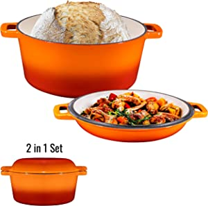 2 in 1 Enameled Cast Iron Double Dutch Oven & Skillet Lid, 5-Quart, Induction, Electric, Gas & In Oven Compatible, Enameled Pumpkin Spice