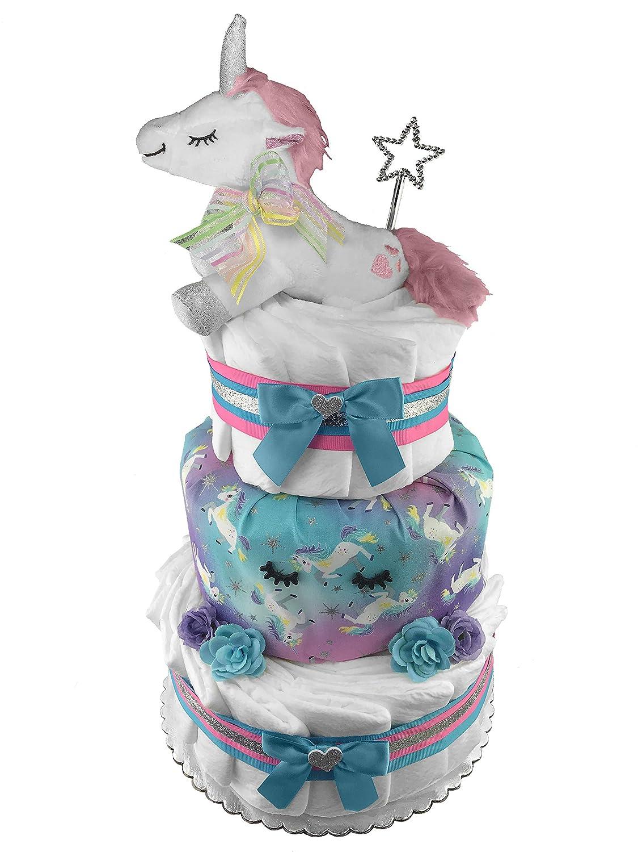 Unicorn 3-Tier Diaper Cake - Baby Shower Gift - Newborn Gift Sunshine Gift Baskets