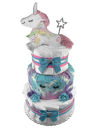 Amazon Unicorn 3 Tier Diaper Cake Baby Shower Gift Newborn