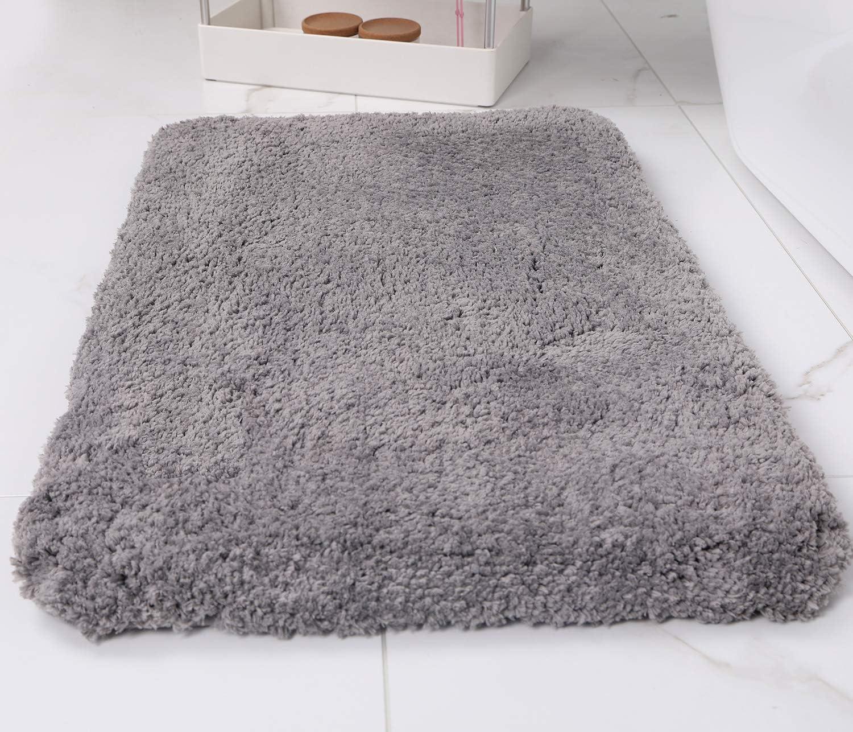 Amazon Com Luxury Grey Thick Bath Mats For Bathroom Rugs Non Slip Absorbent 20 32 Soft Microfiber Shag Bath Rug Machine Washable Home Kitchen