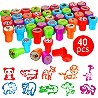 40 Pieces Wild Animal Stampers Multicolor Jungle Safari Animals Stamps Self-Ink Stampers for Party Supplies Gifts, 10…