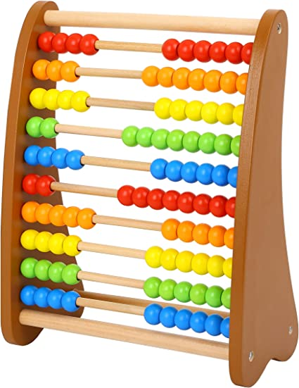 100 Bead Wooden Colored Abacus Wooden Counting Math Manipulatives Toy