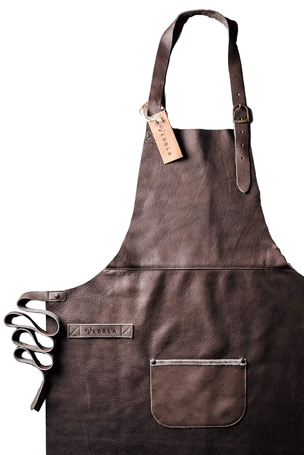 Vedgla leather apron, grill apron, cook's apron, waiter's apron - apron made of high quality leather with adjustable straps and comfortable fit, 84 cm x 70 cm, in brown colour cook's apron