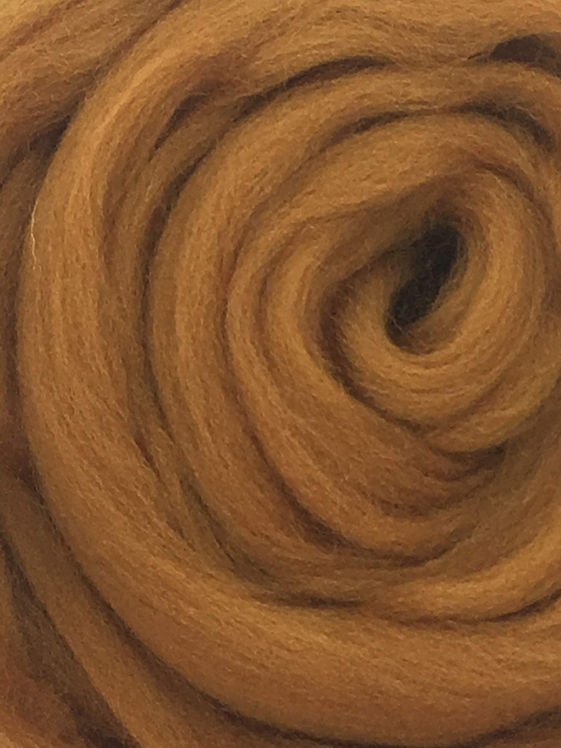 Cinnamon Spice Wool Top Roving Fiber Spinning, Felting Crafts USA (1lb)