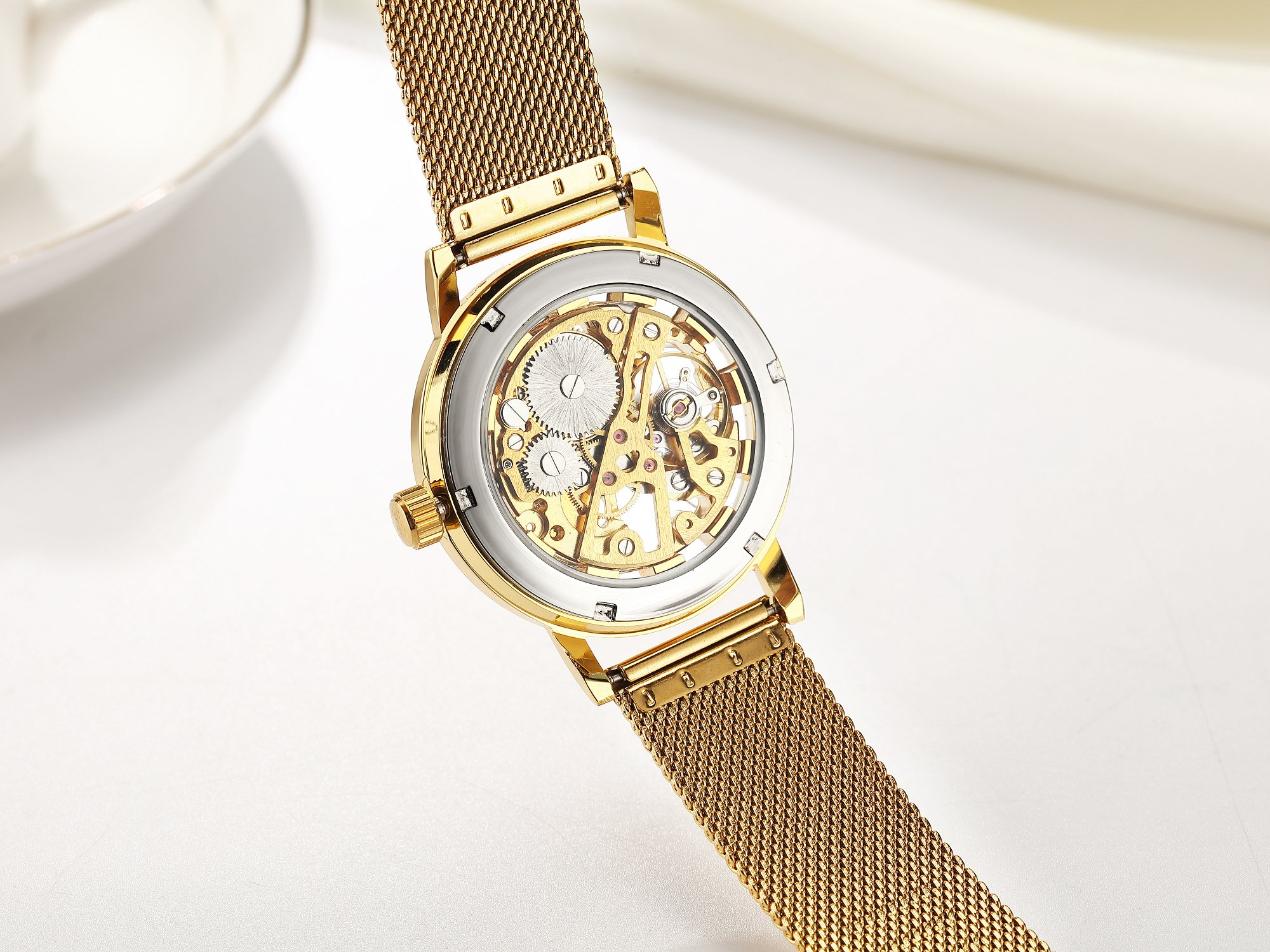 SEWOR Mens Hollow Skeleton Carving Mechanical Hand Wind Wrist Watch with Mesh Band (Gold White)