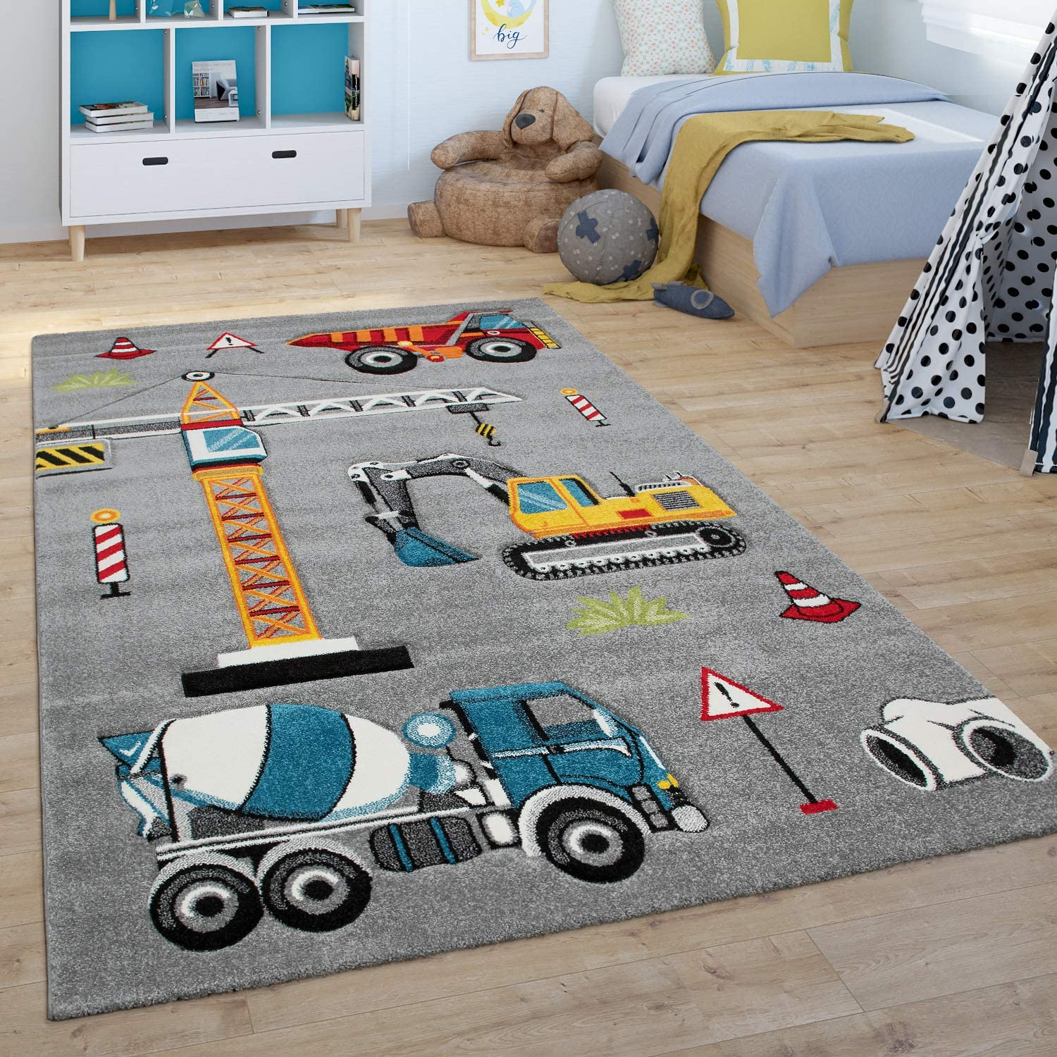 Grey Paco Home Childrens Rug Building Site Play Rug For Childrens Bedroom Digger Crane Size:80x150 cm