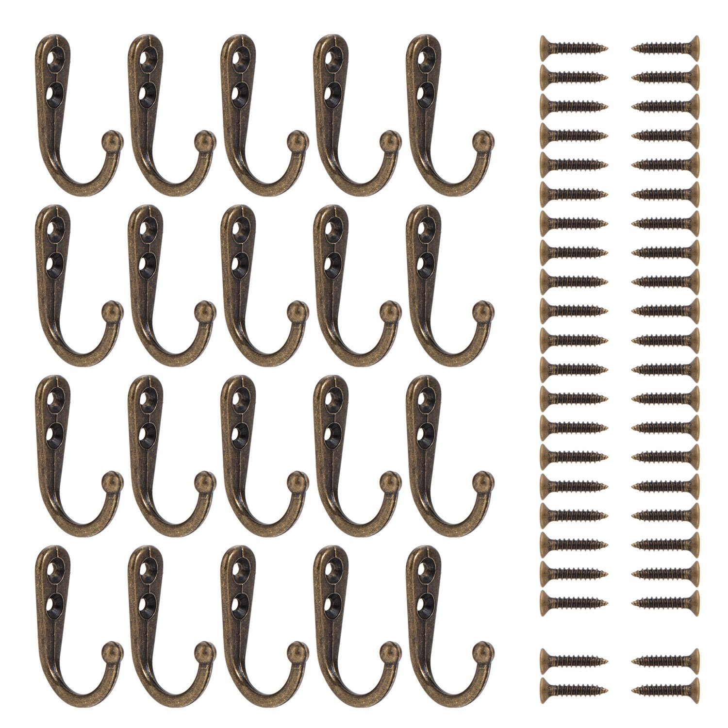 Wall Mounted Hook 20 Pieces Robe Hooks Retro Single Coat Hanger and 44 Pieces Screws (Reddish Brown) Vonker