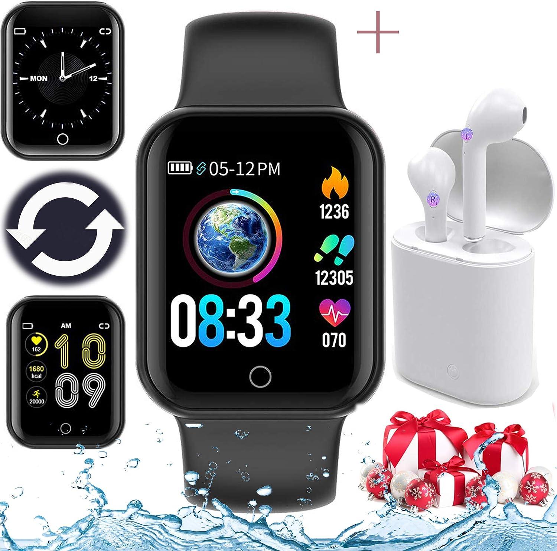 Smartwatch, Reloj Inteligente innovador Un par de auriculares bluetooth (Incluyendo caja de batería)=Juntos, Impermeable IP68 Pulsómetros Podómetro Monitor para iPhone Android Xiaomi Samsung Huawei