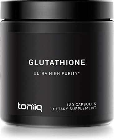 Ultra High Strength Glutathione Capsules - 1000mg Concentrated Formula - 98%+ Highly Purified and Highly Bioavailable - Non-GMO Fermentation - 120 Capsules Reduced Glutathione Supplement