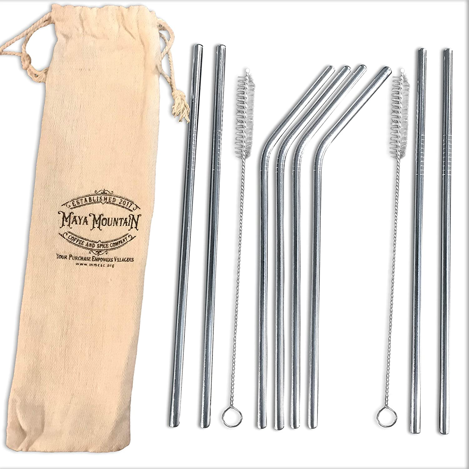 "Reusable Straws, Stainless Steel, 8 Pack, 8.5"" - 4 Straight, 4 Bent Metal Drinking Straw Set with Case​ and Cleaning Brush - Eco-Friendly, BPA-Free, Rust-Proof, Easy Sip and Clean Drink Utensils 8.5"" - 4 Straight"