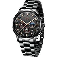 LIGE Relojes para Hombre Moda Acero Inoxidable Deportivo Analógico Reloj Cronógrafo Impermeable Negocios Reloj de…
