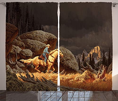 Ambesonne Western Curtains, A Rock Mountain Landscape with a Cowboy Riding Horse North America Style, Living Room Bedroom Window Drapes 2 Panel Set, 108 W X 84 L Inches, Earth Yellow Grey