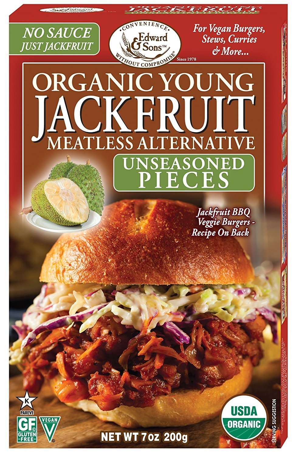 Edward & Sons Organic Young Jackfruit, 7 Ounce (Pack of 3)