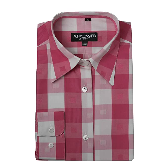 f235953f9c Amazon.com  Xposed Ladies Women Long Sleeve Madras Check Shirt Smart Casual  Slim Fit Button Collar Blouse-5 Colours  Clothing