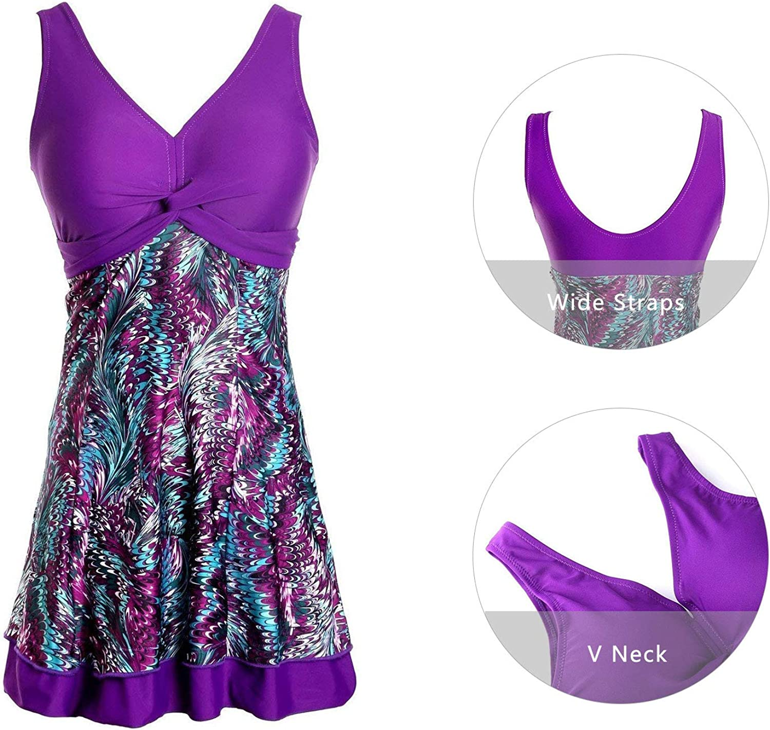 Ecupper Womens One Piece Swimsuit Plus Size Swimwear Floral Printed Swimming Costume with Skirt