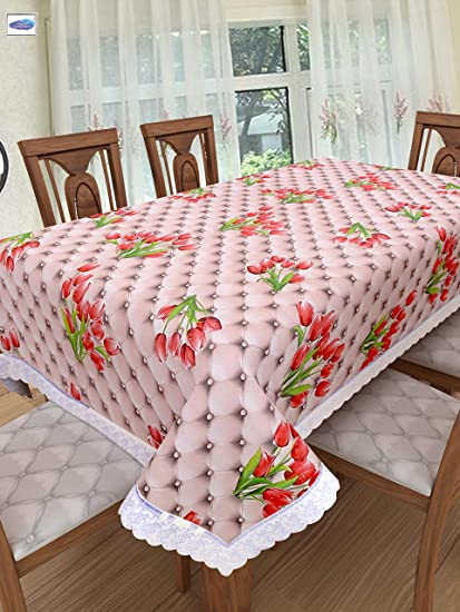 Clasiko 4 Seater PVC Table Cover; Red Roses On Pink Base; Anti Slip; 54x78 Inches; 4 Seater