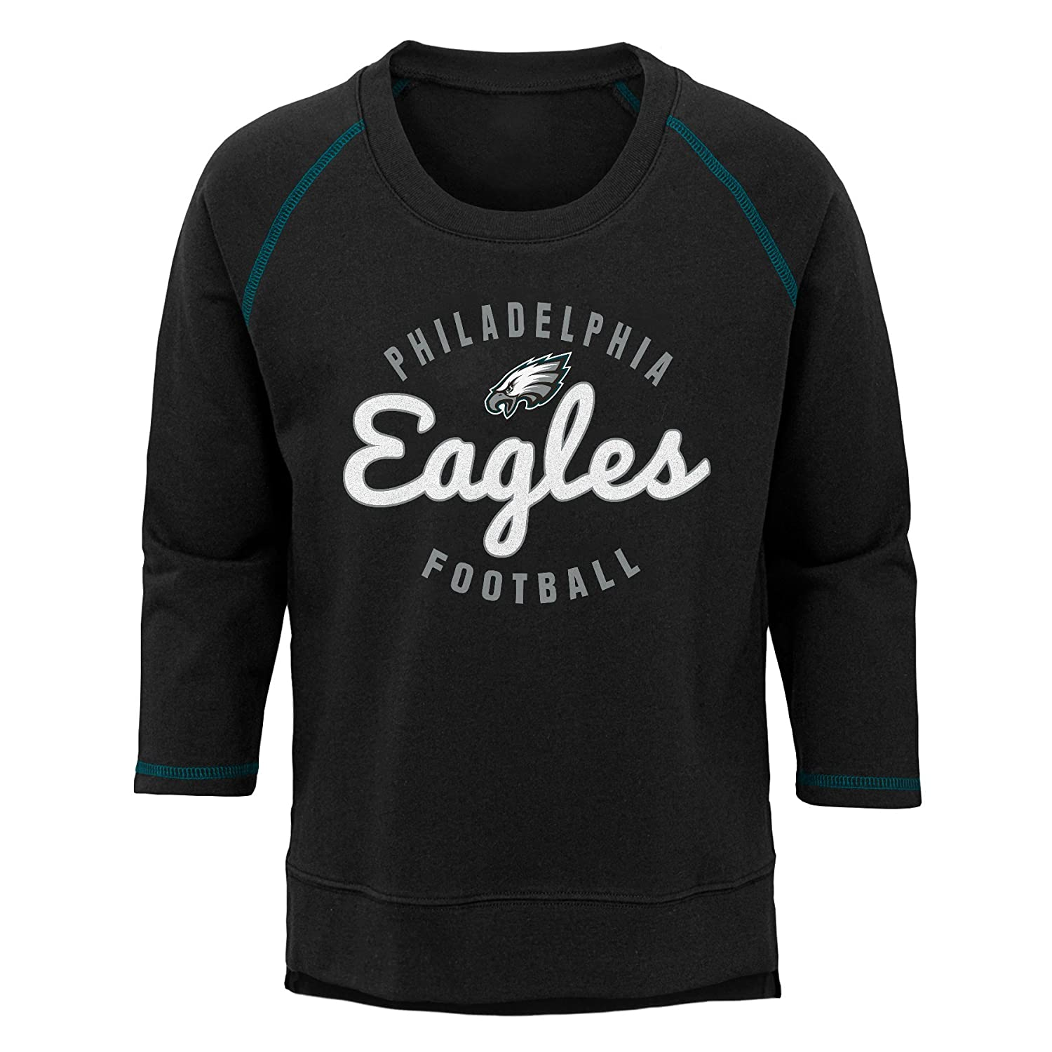 Youth X-Large 16 NFL Philadelphia Eagles Youth Boys Overthrow Pullover Top Black