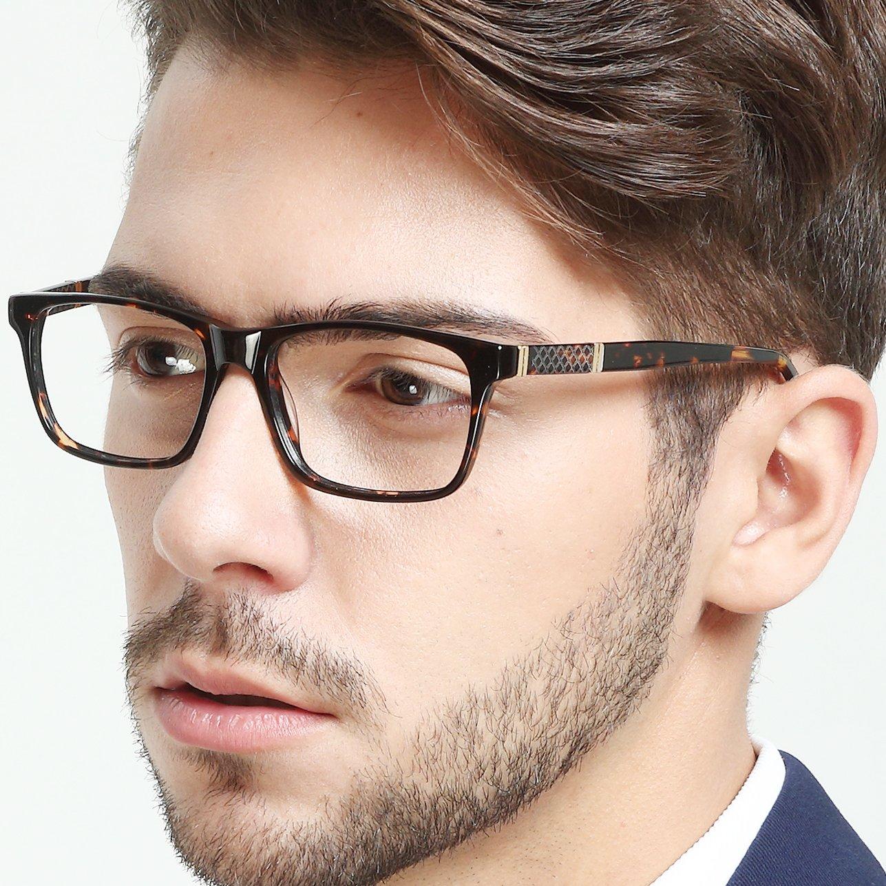 c1427c2a27a OCCI CHIARI Men Fashion Rectangle Stylish Eyewear Frame With Non-Prescription  Clear Lens 54) larger image