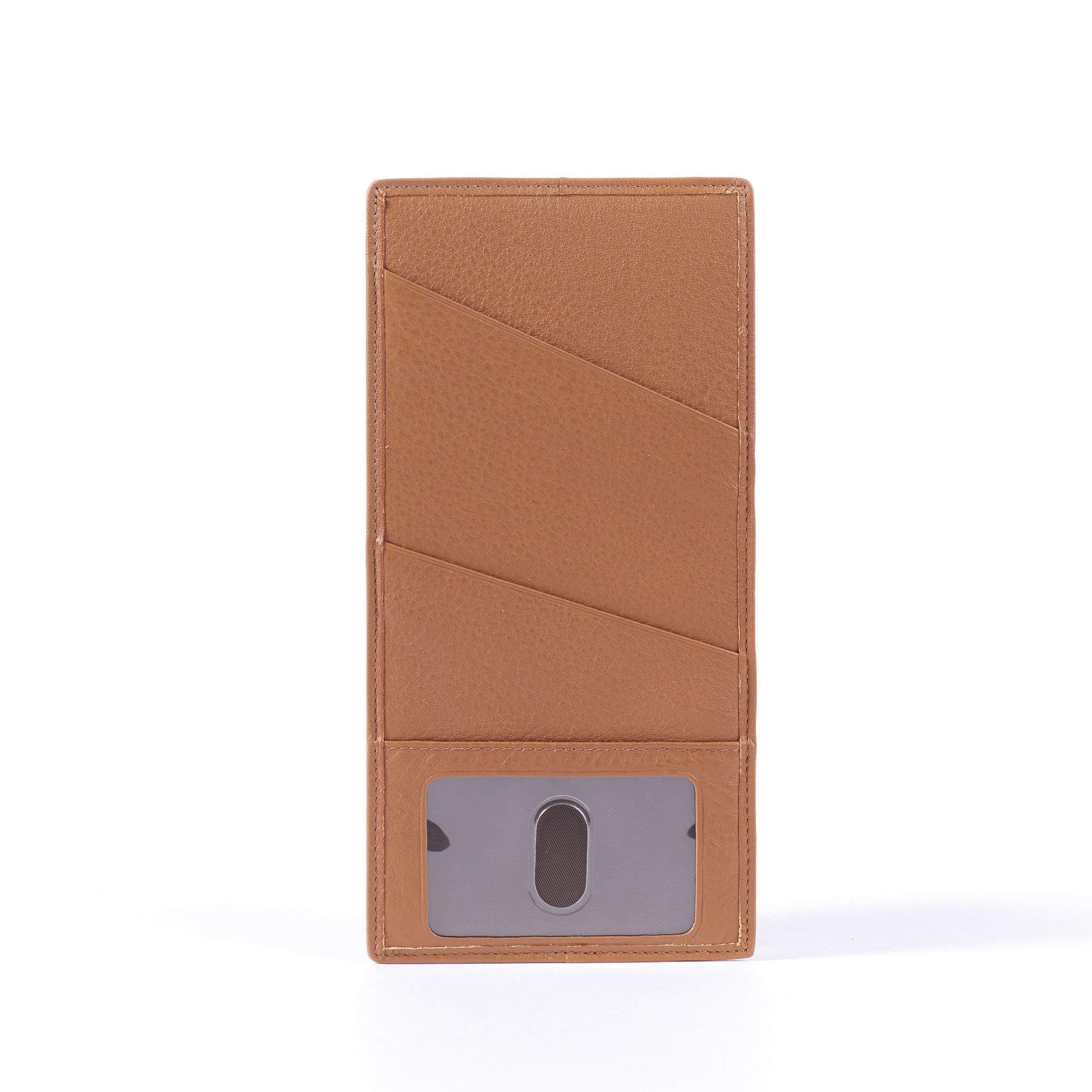Slim Passport Ticket Holder - Full Grain Leather - Cognac (brown)