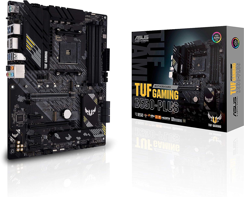 ASUS TUF GAMING B550-PLUS - Placa Base Gaming ATX AMD AM4 con VRM de 10 fases, PCIe 4.0, dual M.2, 2,5Gb LAN, HDMI/DP, USB 3.2 Gen 2 (A y C), Realtek S1200A, BIOS flashback e iluminación RGB Aura Sync