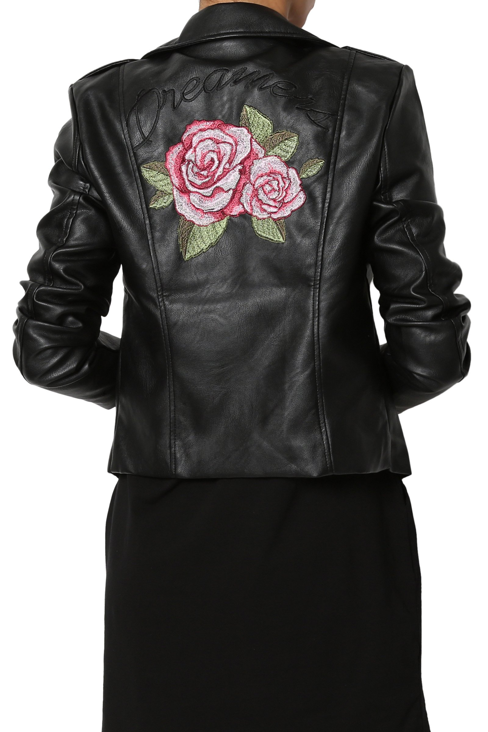 TheMogan Junior's Flower Rose Embroidered Faux Leather Moto Jacket Black 1XL