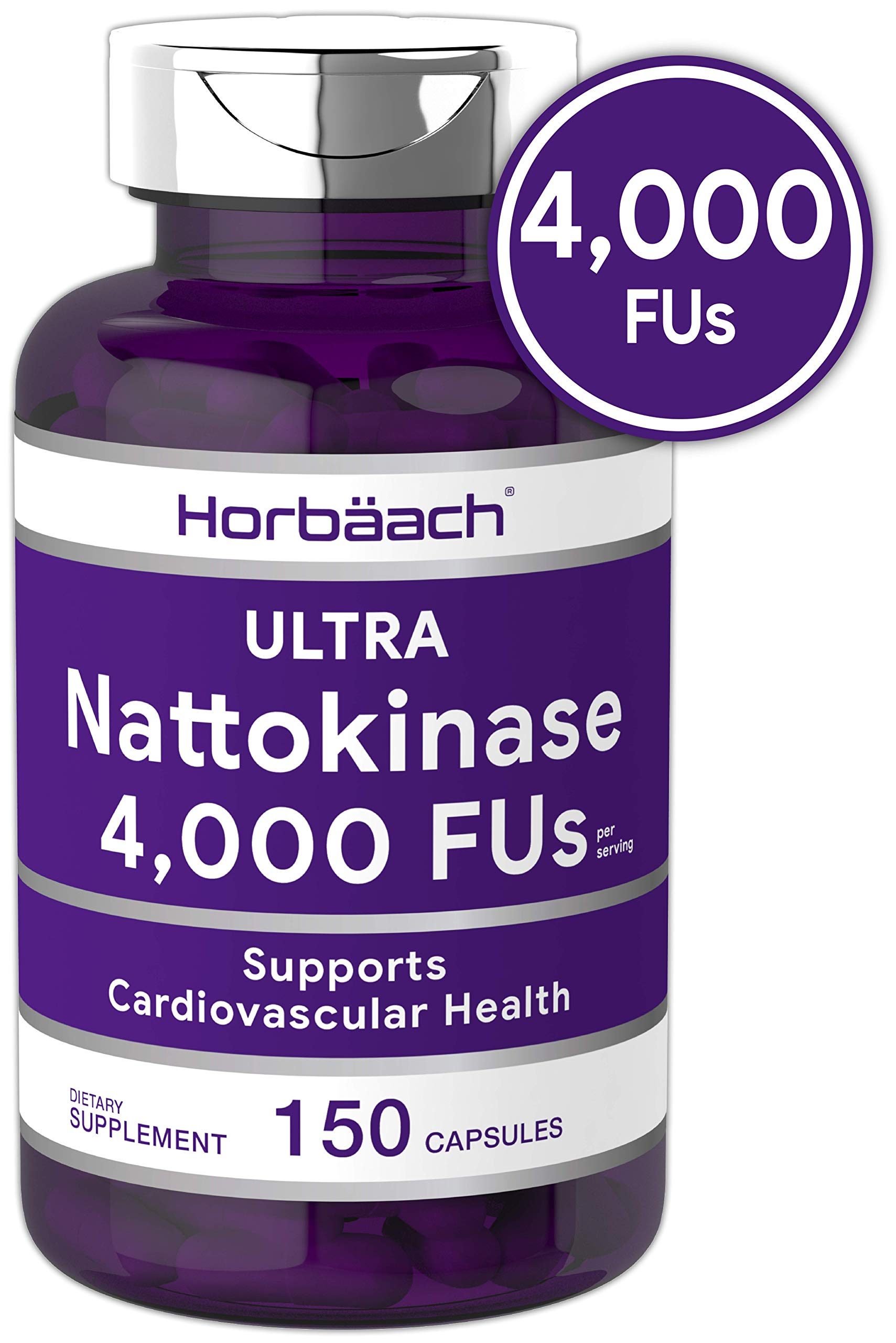 Nattokinase Supplement 4000 FU 150 Capsules | Non-GMO, Gluten Free | Supports Cardiovascular and Circulatory Health | by Horbaach by Horbäach