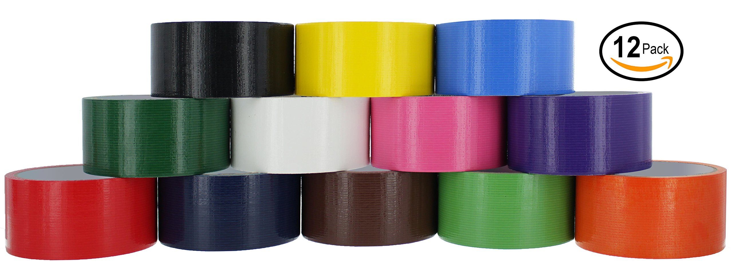 Ram-Pro Colored & Fluorescent Styles Heavy-Duty Duct Tape | Assorted Colors Pack of 12 Rolls, 1.88-inch x 10 Yard.