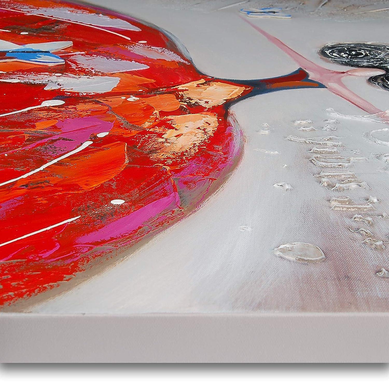 100x100x3.5 Cm World Art TW60079 Dipinto su telaio estetico Donna Con Farfalle Legno