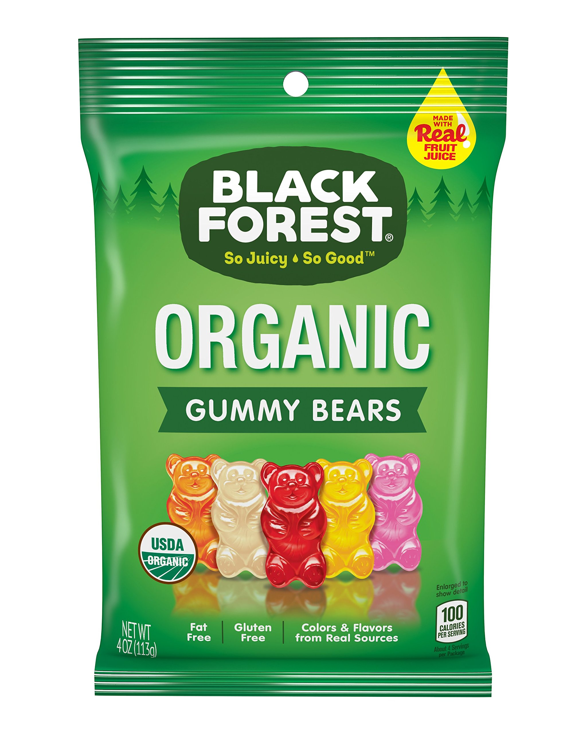 Black Forest Organic Gummy Bears Candy, 4 Ounce Bag, Pack of 12