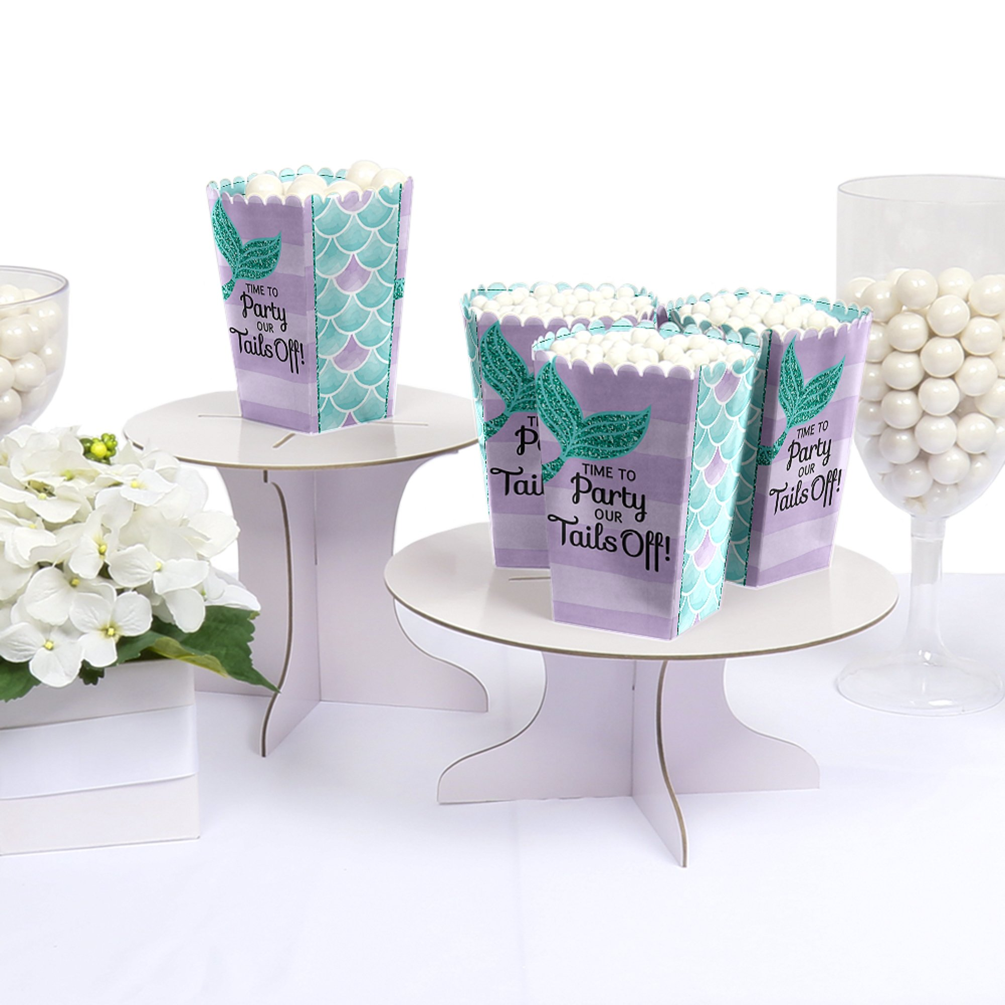 Big Dot of Happiness Let's Be Mermaids - Baby Shower or Birthday Party Favor Popcorn Treat Boxes - Set of 12 by Big Dot of Happiness (Image #2)