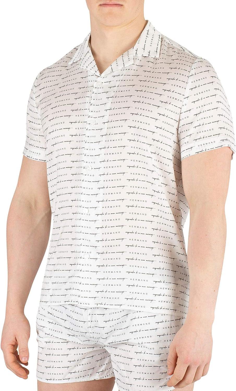 Hermano de los Hombres Camisa de Manga Corta con Estampado Cubano, Blanco, L: Amazon.es: Ropa y accesorios