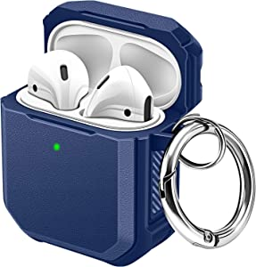 Maxjoy Airpod Case Cover Hard Airpods Case Full-Body Rugged Protective Case for Apple Airpods 2&1 Wireless Charging Case Shockproof Airpod Case with Keychain Front Led Visible (Navy Blue)