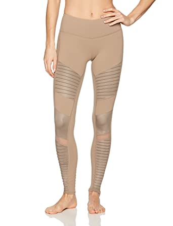 dbd12339cce68 Alo Yoga Women's Moto Legging, Gravel/Gravel Glossy, M: Amazon.in: Clothing  & Accessories