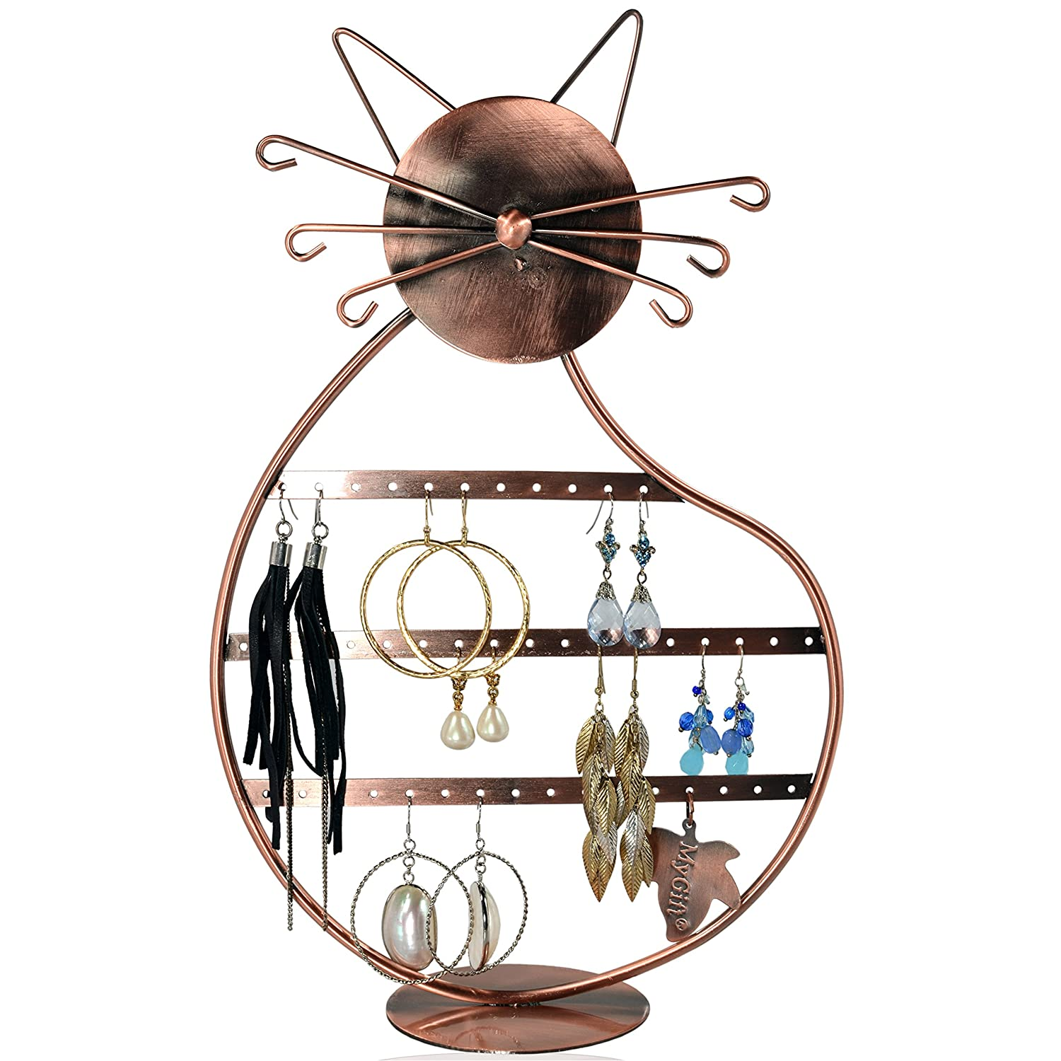 Blingmate Cat Shape Copper Color Wire Earring Holder / Earring Tree / Earring Oraganizer / Earring Stand / Earring Display Bejeweled Display SHOMHNK004