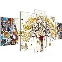 Quadro Gustav Klimt - Albero della vita Decorazione Murale 200 x 100 cm vello - Tela Decorazione da Parete Misura XXL Salotto Appartamento Decorazione Stampe Artistiche Marrone A 5 pezzi - 100% MADE IN GERMANY - Pronte per l'applicazione 004651a