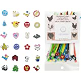 LSP - Poultry Leg Bands - Chicken BLING Charms made from Stainless Steel, 24 ASSORTED pack with Multi Colored DURABLE Plastic Cable Ties - One SIZE FITS ALL.