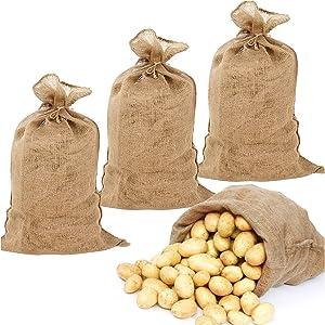 Pack of 4 Burlap Potato Sacks- 19.5