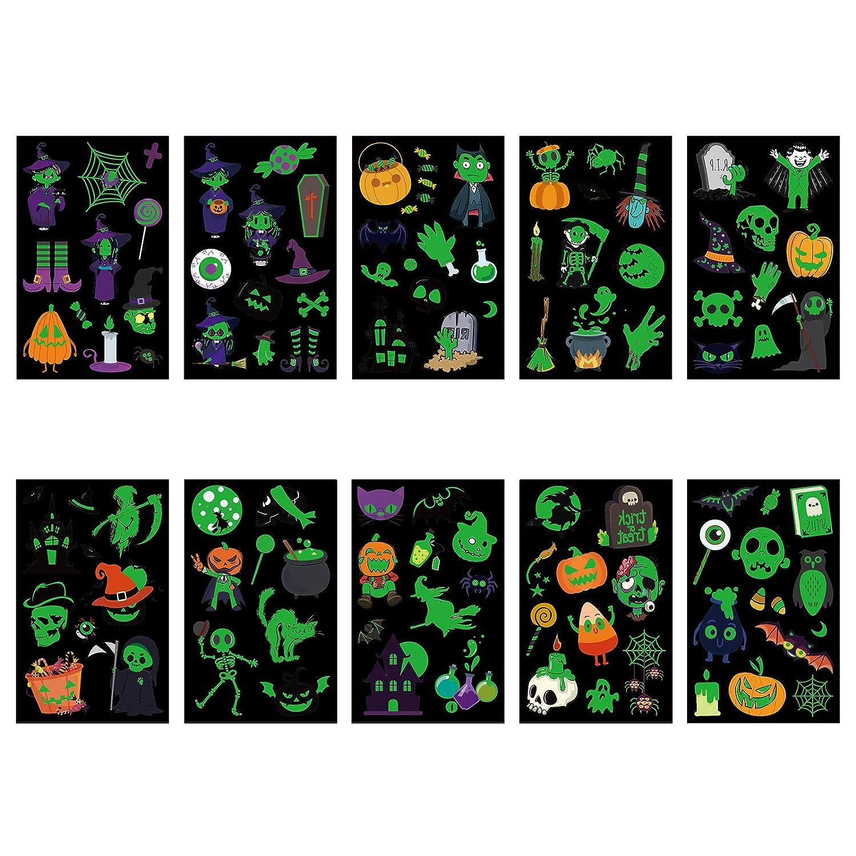 TAZEMAT Halloween Tatuaje Luminoso 20 Hojas Pegatina Temporal Fluorescente Etiqueta Engomada de Cuerpo y Cara Fantasma Murciélago Calabaza Bruja ...