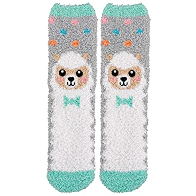 Gray and White Easter Lamb Fuzzy Socks 1 Pair - Adult Standard: Toys & Games