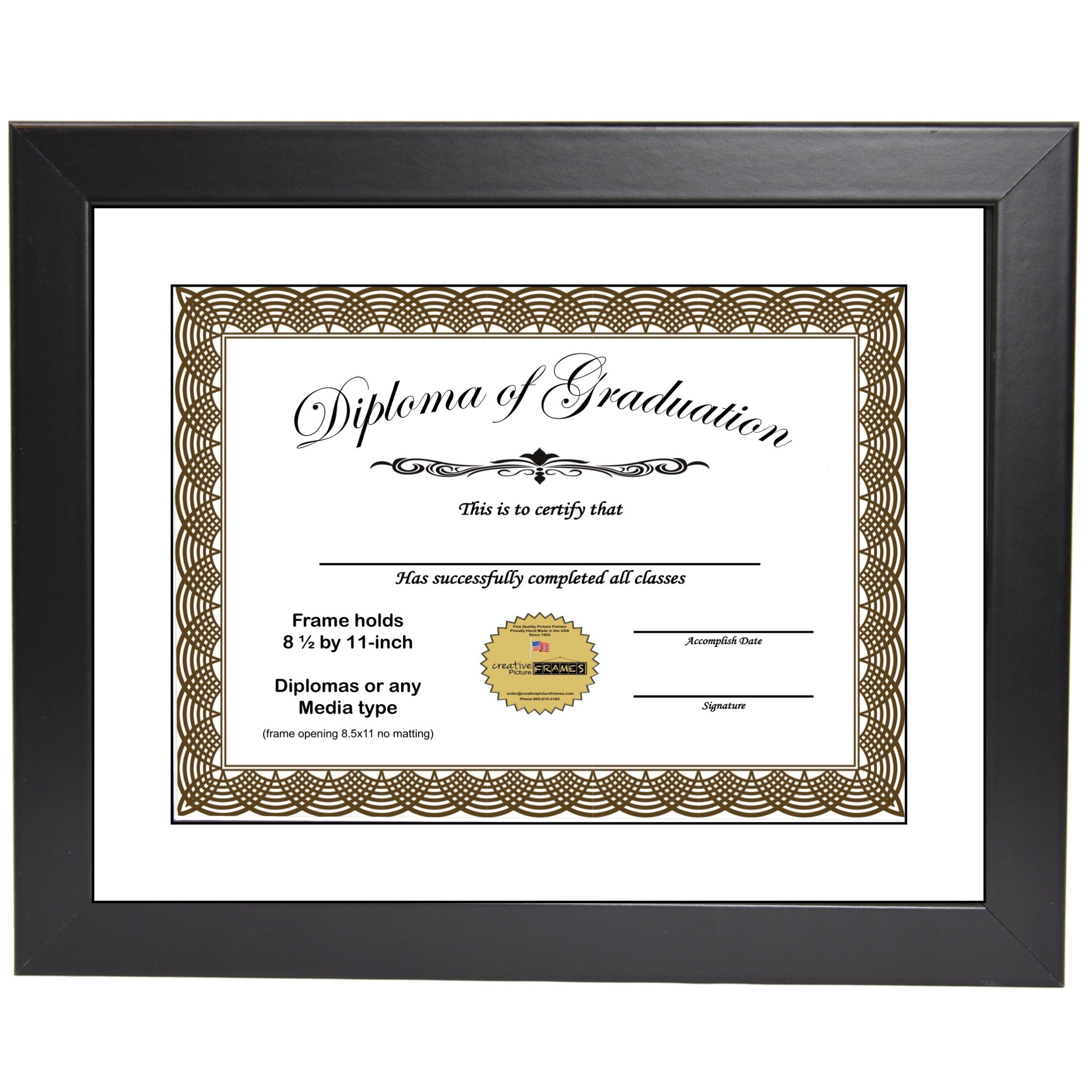 CreativePF [11x14bk] Black Diploma Frame with 11x14-inch White Mat to Hold 8.5 by 11-inch Graduation Documents w/Stand and Wall Hanger (White Mat-Black Frame, 1)