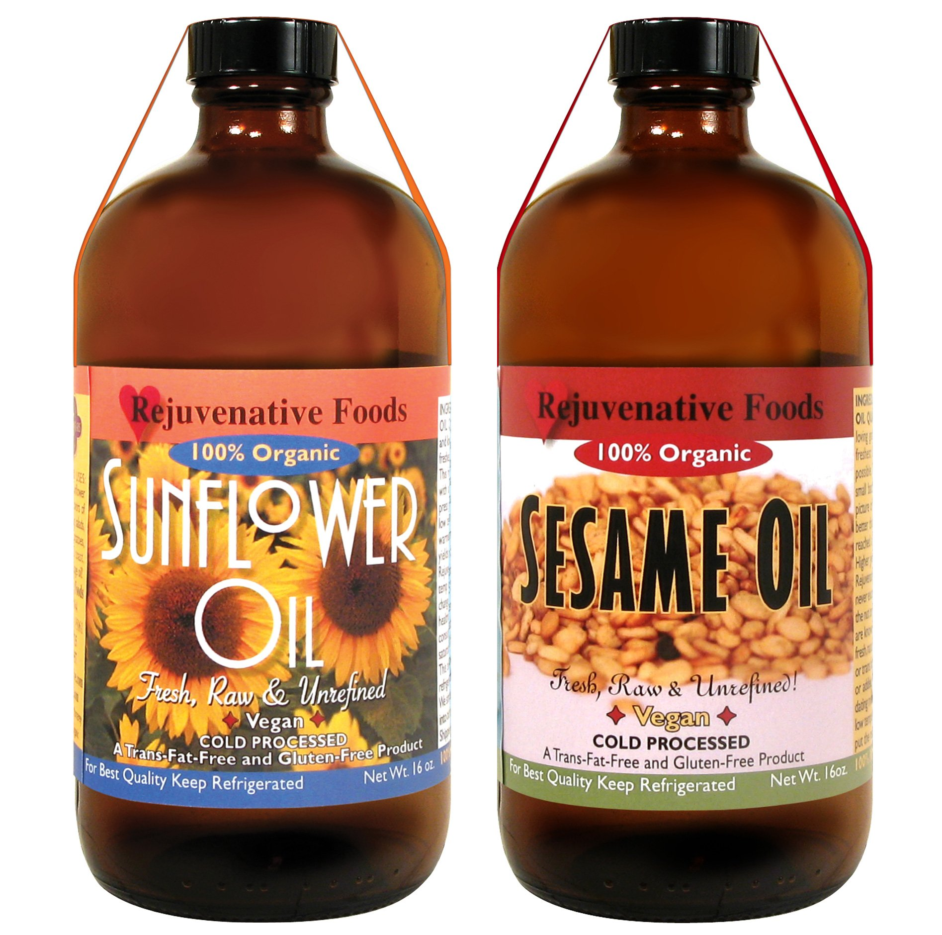 2 Bottles Virgin Sesame and Sunflower Seed Oil Combo Pack, Raw, Certified Organic, Pressed-to-Order at Low Temperature For Food or Skin by Rejuvenative Foods