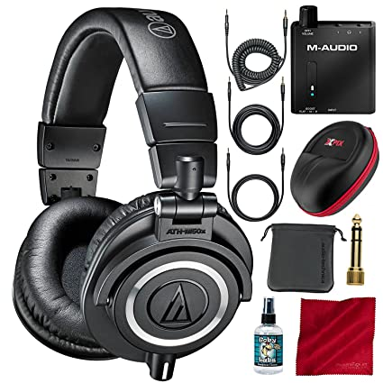 f5431af5894 Amazon.com: Audio-Technica ATH-M50x Professional Monitor Headphones and  Deluxe Accessory Bundle with Headphone Amplifier + Protective Case + More:  Musical ...