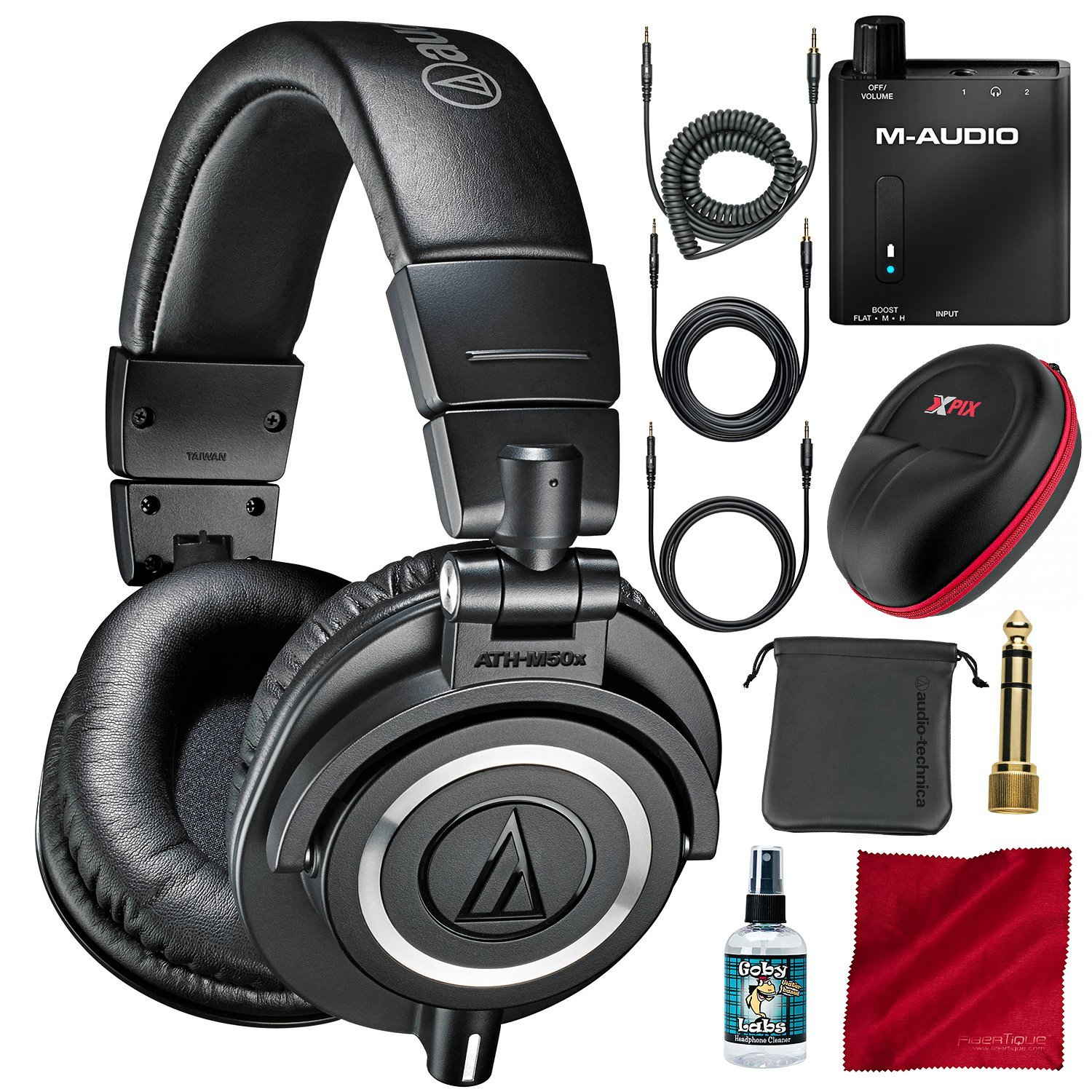 Audio-Technica ATH-M50x Professional Monitor Headphones and Deluxe Accessory Bundle with Headphone Amplifier + Protective Case + More